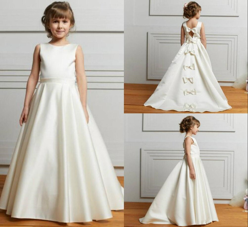 Satin Flower Girl Dresses for Wedding with Bows Jewel Neck First Communion Gowns Custom Made Pageant Gowns Sleeveless Vestidos