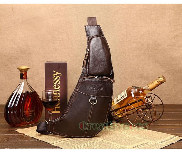 Bolsa De Viagem em Couro Genuíno Do Vintage dos homens de Equitação Ombro Messenger Corpo Cruz Estilingue Pacote Peito Saco Ocasional