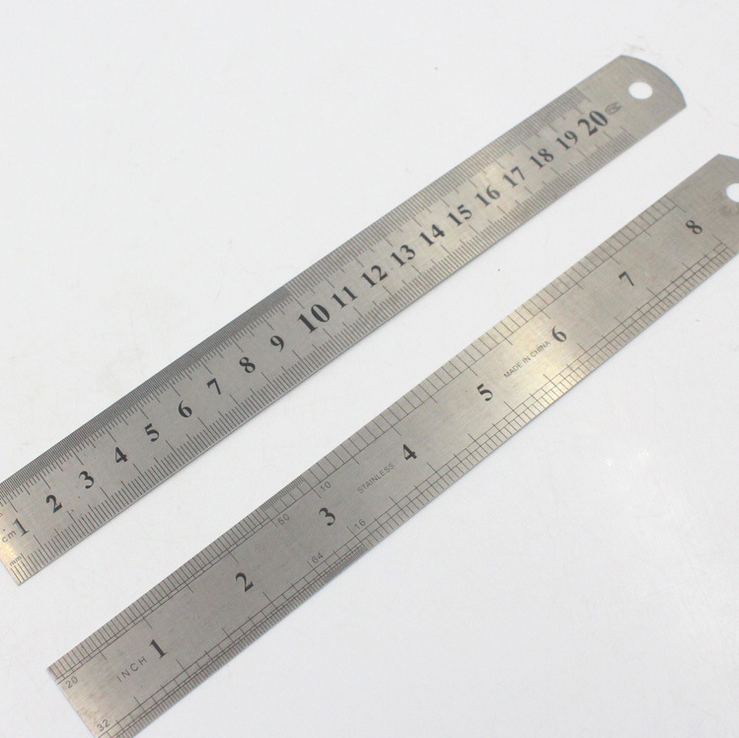 Harphia Stainless Steel Ruler 2pcs/set Long And Short Ruler Straight Ruler Ruler Tool Precision Double Sided Measuring Tool