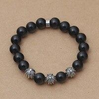 Sterling Silver Fashion Jewelry Wholesale Thai Silver DIY Korean Men S Retro Cross Ball Black Agate