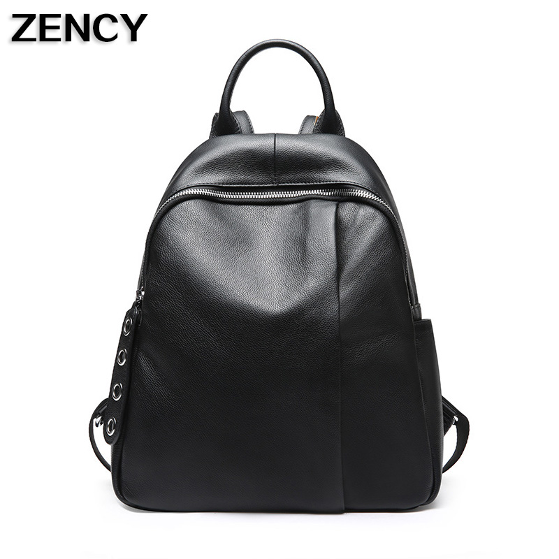 ZENCY Female Real Natural Leather Backpack Genuine Leather Women Backpacks Ladies Girl School Bag Cowhide Schoolbag zency genuine leather backpacks female girls women backpack top layer cowhide school bag gray black pink purple black color
