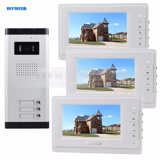 "DIYSECUR 7"" Wired Apartment Video Door Phone Audio Visual Intercom Entry System IR Camera For 3 Families"