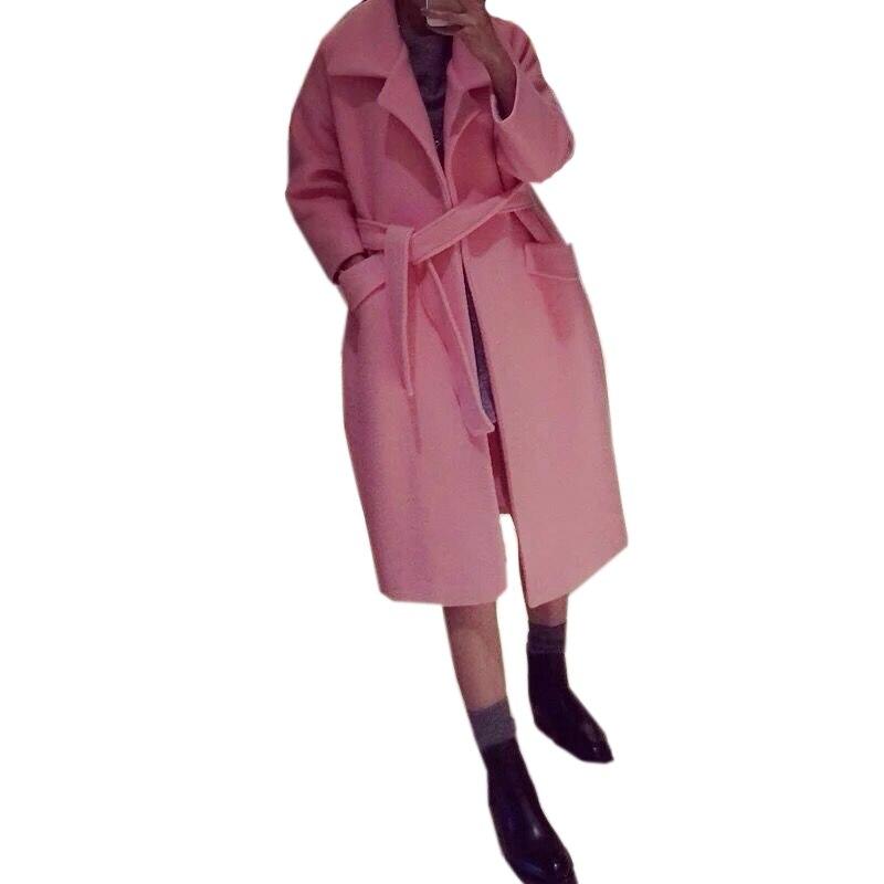 Korean Style 2016 New Elegant Women Autumn Winter Coat Pink Grey OL Long Belted Wool Coat