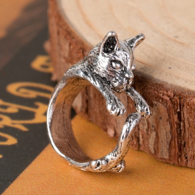 H:HYDE 1pc 2017 Cat Ring Anel Anillos Gato Bague anillo gato Animales Animal Cat Rings For Women Bague Wholesale