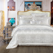 King Queen size White Red Bedding Set Luxury Wedding Bed set Jacquard Cotton Duvet Cover Bed set Bedlinen Bed cover nordico cama(China)