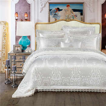 King Queen size White Red Bedding Set Luxury Wedding Bed set Jacquard Cotton Duvet Cover Bed set Bedlinen Bed cover nordico cama - DISCOUNT ITEM  37 OFF Home & Garden