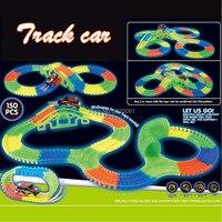 150pcs 1 Car Set Glow In Dark Track Car Rolls Up Tracks Bend Flex Glow Plastic