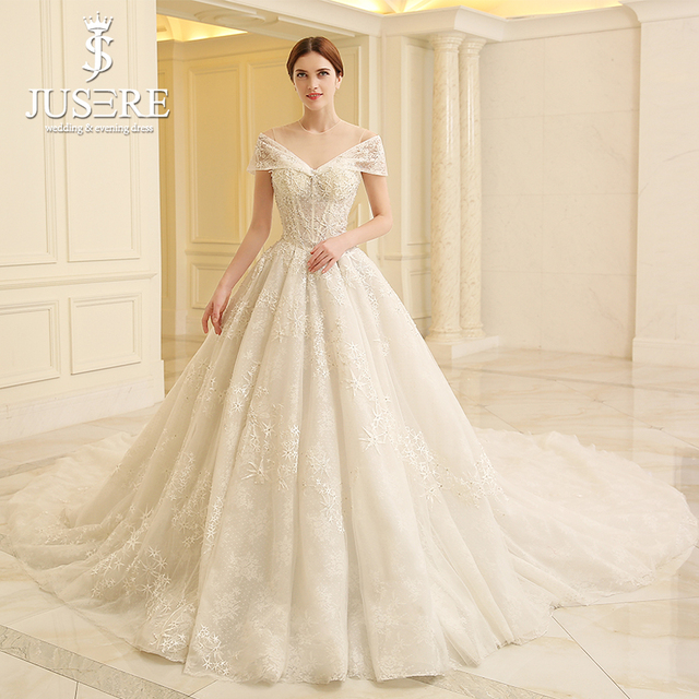 JUSERE Cap Sleeves Puffy A Line Big Cathedral Train Lace Skirt - Star Wedding Dress