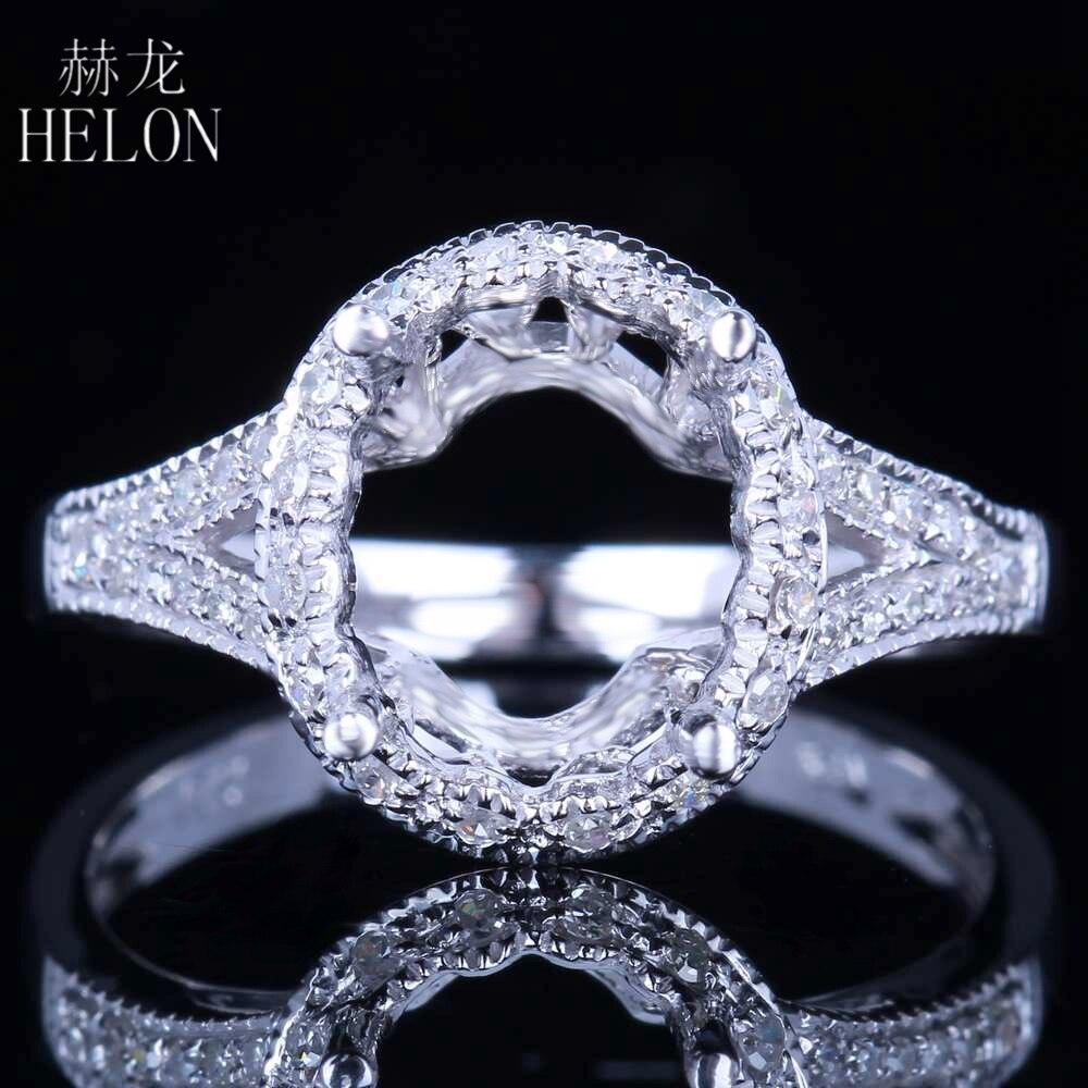HELON Solid 14K White Gold Pave Diamond Engagement Wedding Fine Women's Ring Oval Cut 10x8mm Semi Mount Diamonds Women's Ring цена