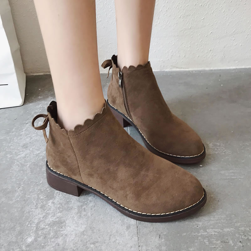 Chaussons 2018 Nouvelles Femme Troupeau 2 Couleur Femmes Mode Brown Zip Bout black D'hiver De Bottes Chaussures Rond Base Partie d4Ir4qw