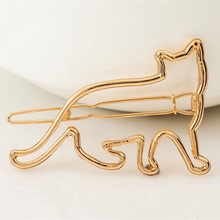 цены New Fashion Cute Cat Hair Clip Cute Animal Hollow Cat Hairclip Hair Pin Silver And Gold Color Hair Clip Accessories