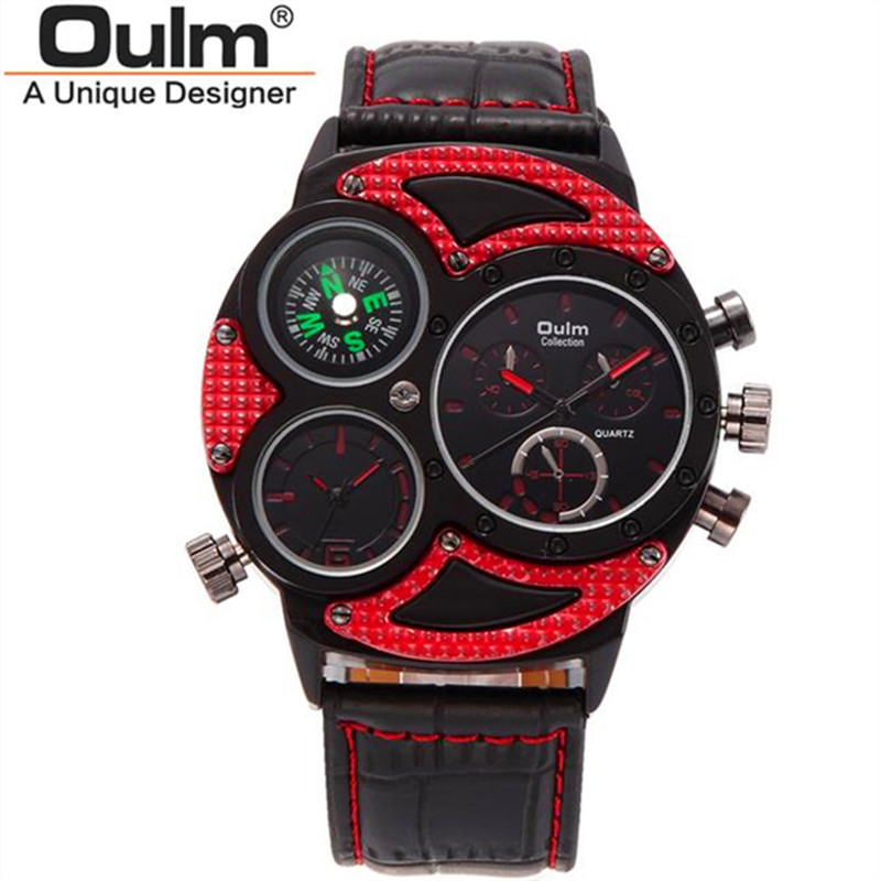 big face watches men promotion shop for promotional big face oulm luxury hot brand military watches men quartz analog big face leather clock man sports watches army watch relogios masculino