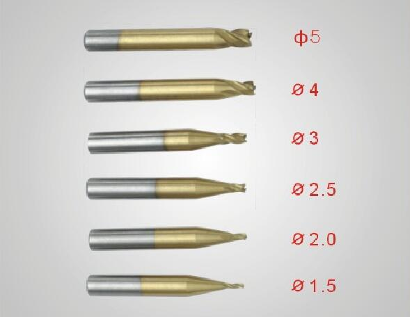 2.5mm HSS Titanized End Mill Fresa Llave de corte para piezas de la máquina de corte de llaves Herramientas de cerrajería Cortadores Brocas 5 piezas / lote