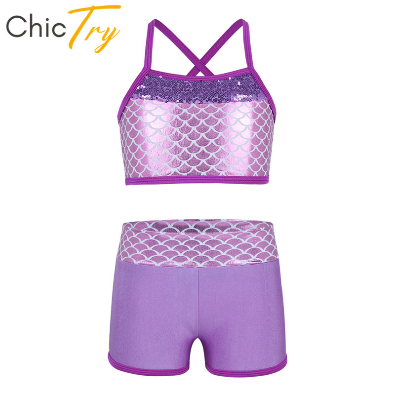 ChicTry Kids Teens Sequins Tankini Mermaid Scales Stage Dance Costume Children Girls Gymnastics Ballet Crop Top With Shorts Set