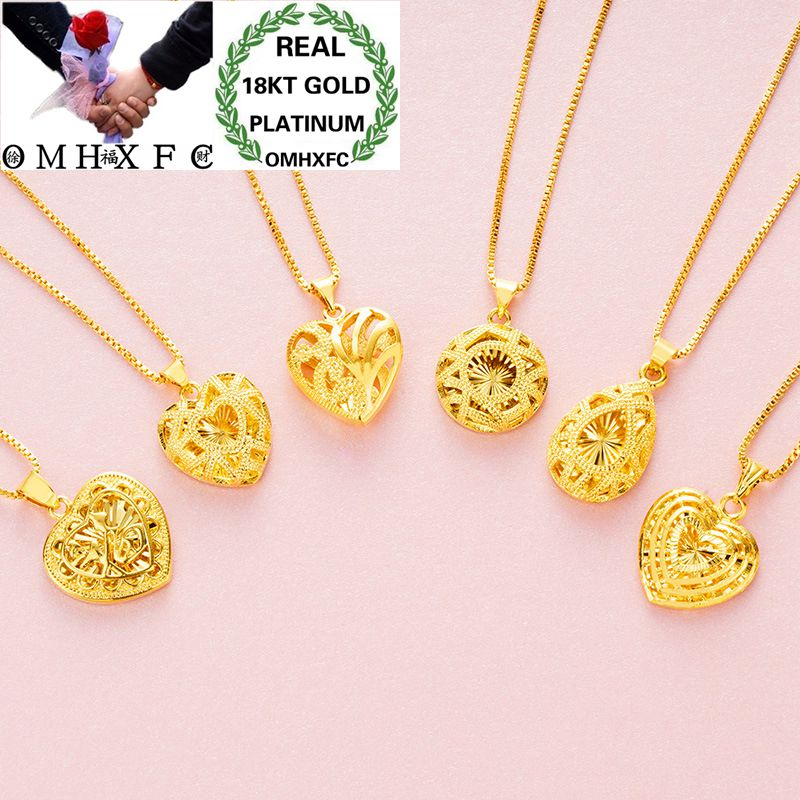 OMHXFC Wholesale European Fashion Woman Party Birthday Wedding Gift Hollow Heart Water Drop 18KT Real Gold Charm Pendant PN62