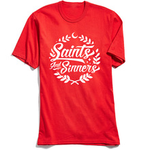 T Shirt Saints And Sinners Tops Tees Men T-shirts Letter Printed Faddish Red Tshirt Summer Short Sleeve Cotton Round Neck Camisa round neck letter printed sleeveless t shirt for men