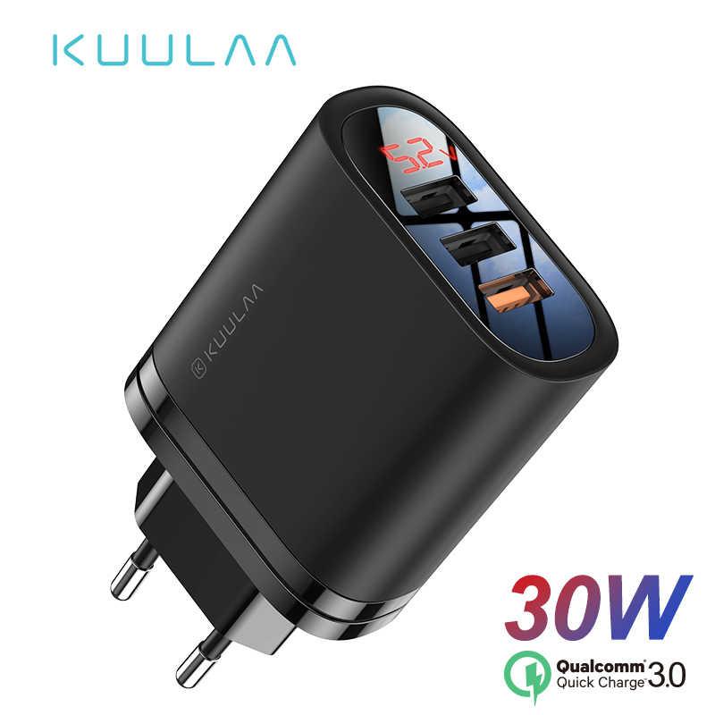 KUULAA شحن سريع 3.0 USB شاحن 30 واط QC3.0 QC شحن سريع متعدد التوصيل شاحن الهاتف المحمول آيفون سامسونج شاومي هواوي