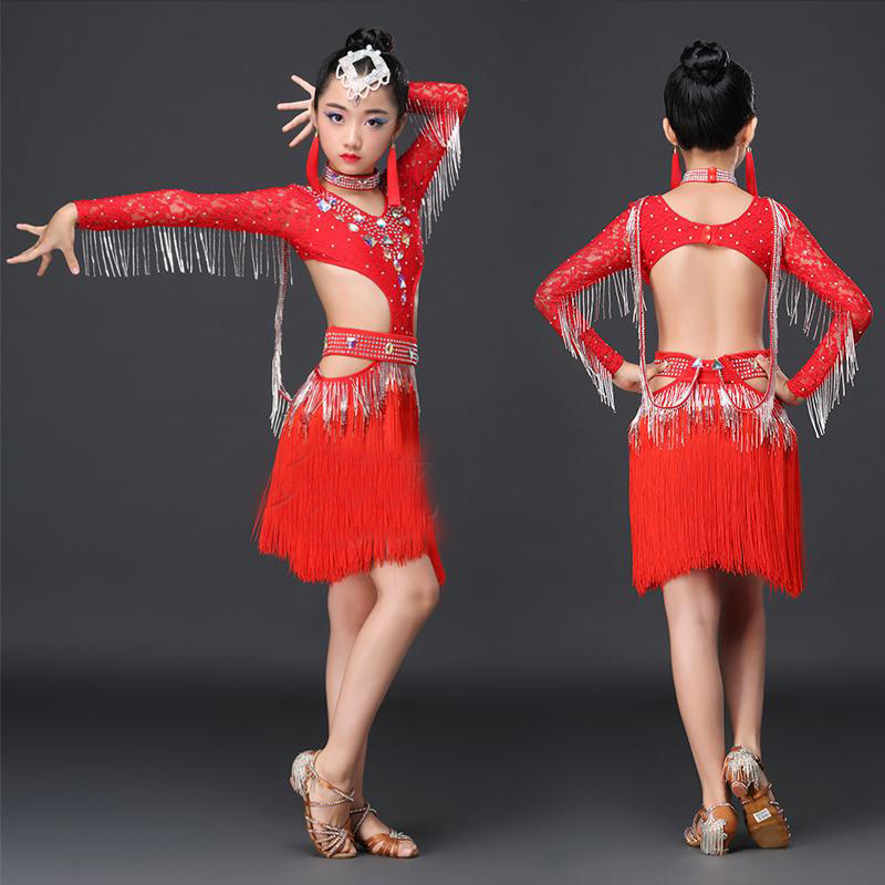 Latin Dance Dress Diamond Fringe Dress Kids Dresses For Girls Latin Tango Training Performance Stage Latin Dresses BL1175