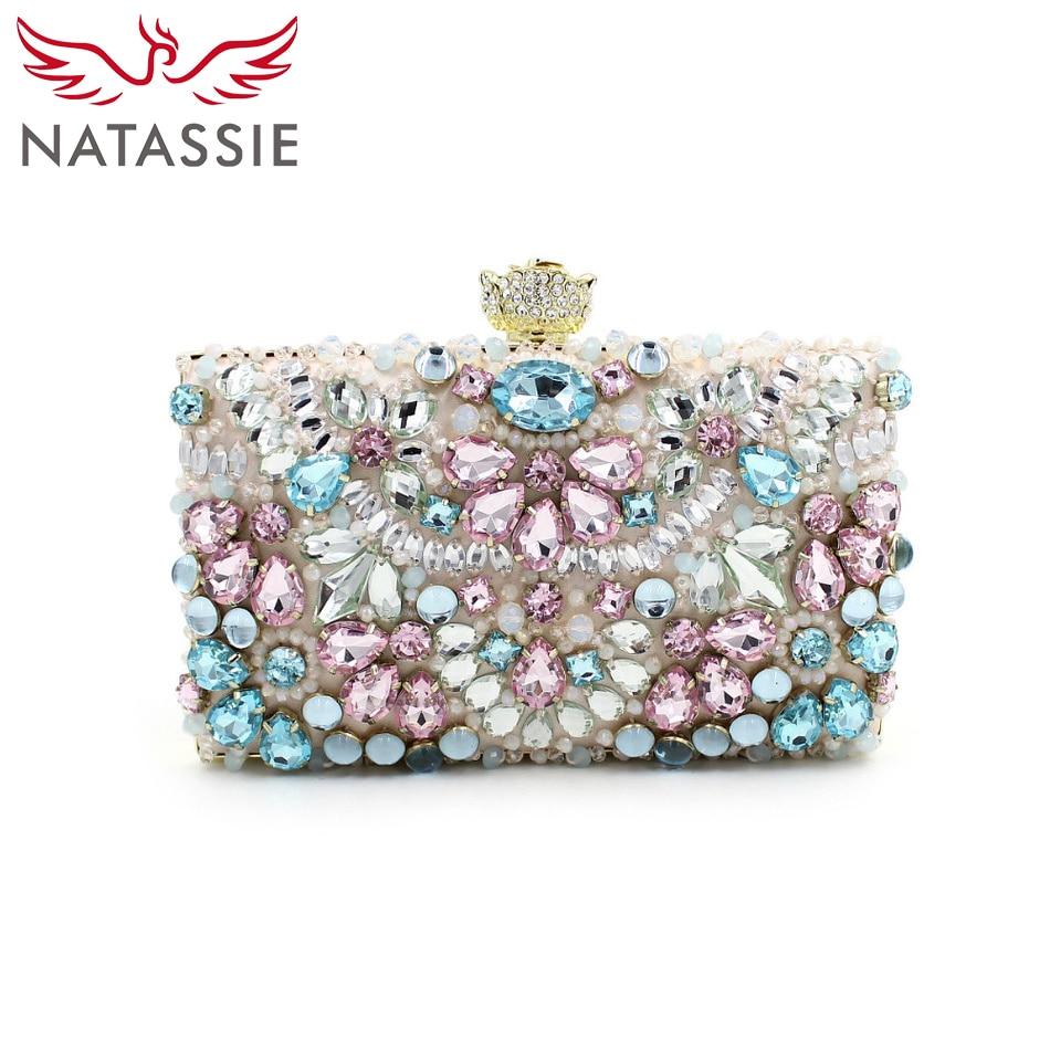 ФОТО NATASSIE New Arrival Casual Women Clutches High Quality Beaded Evening Bags Elegant Socialite Designer Handbags Floral Purses