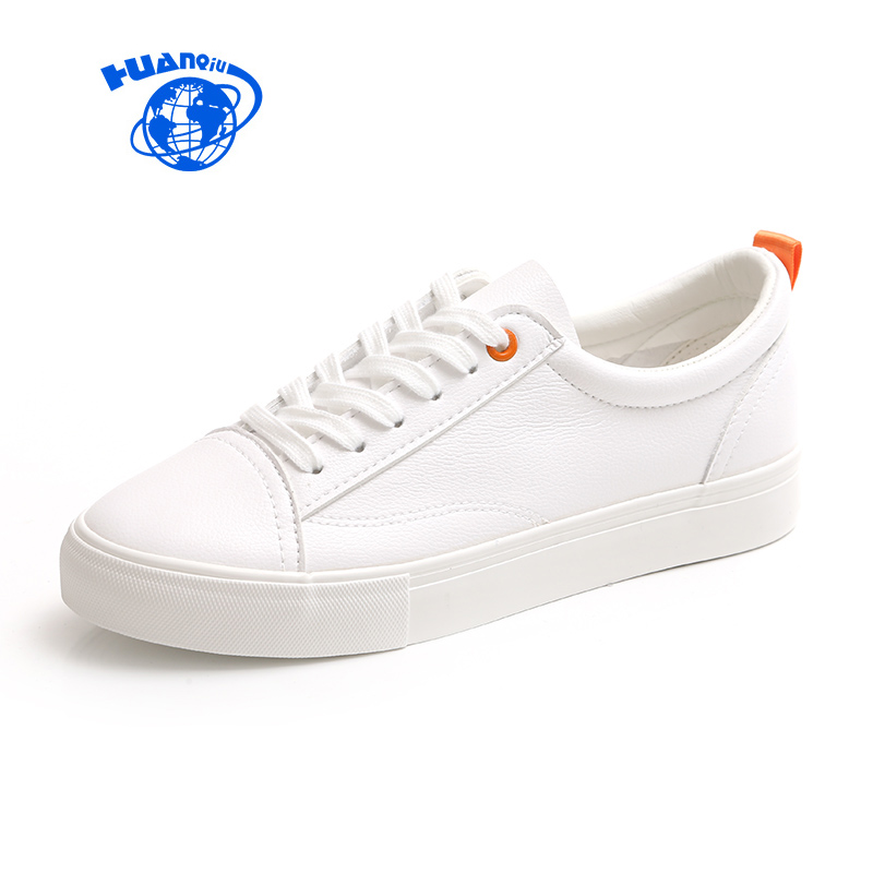 HUANQIU Women White Sneakers New Fashion Female Casual Leather Shoes Leisure Flats Ladies Vulcanized Shoes Lace Up Breathable beautyfeet women shoes female genuine leather lace up casual shoes woman flats white shoes candy color breathable ladies shoes