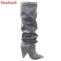 Hanbaidi Newest Luxury Crystal Pointy Toe Knee High Boots Sexy Strange Heel Boots Bling Ladies Rhinestone long Boots women Shoes