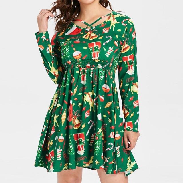 FeiTong 2019 Christmas sexy v neck mini dress Women pleated long sleeve  lace up xmas short aa1238f844b7