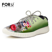 FORUDESIGNS Women Casual Shoes Flats 3D Animal Printing Mesh Breathable Shoes For Student Chaussure Femme Funny Monkey Shoe 2017