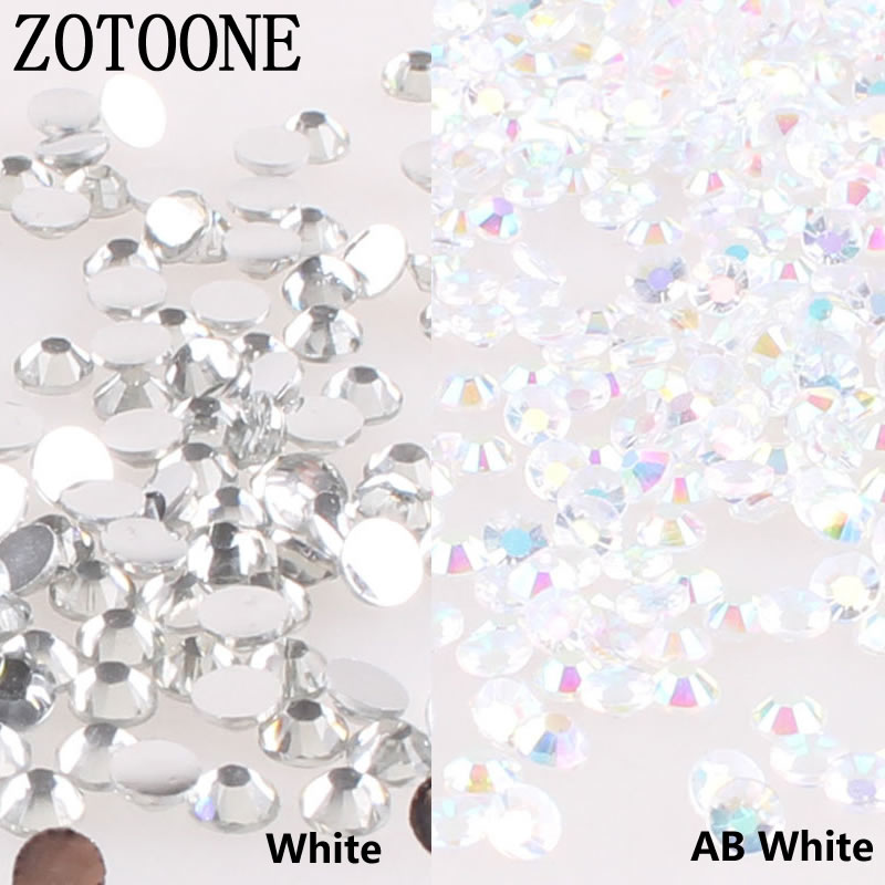 ZOTOONE Mix Size 1000PCS/lot Rhinestones 3-5MM White Crystals and AB Stones Non Hotfix Glue Back Iron on Rhinestones for Clothes