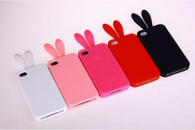 newest d76d3 fe84c US $11.17 |Whole 5pcs/lot lovely Bunny Rabbit Ears Tail Silicone Case Skin  Cover For iPhone 4/4S FREE SHIPPING on Aliexpress.com | Alibaba Group