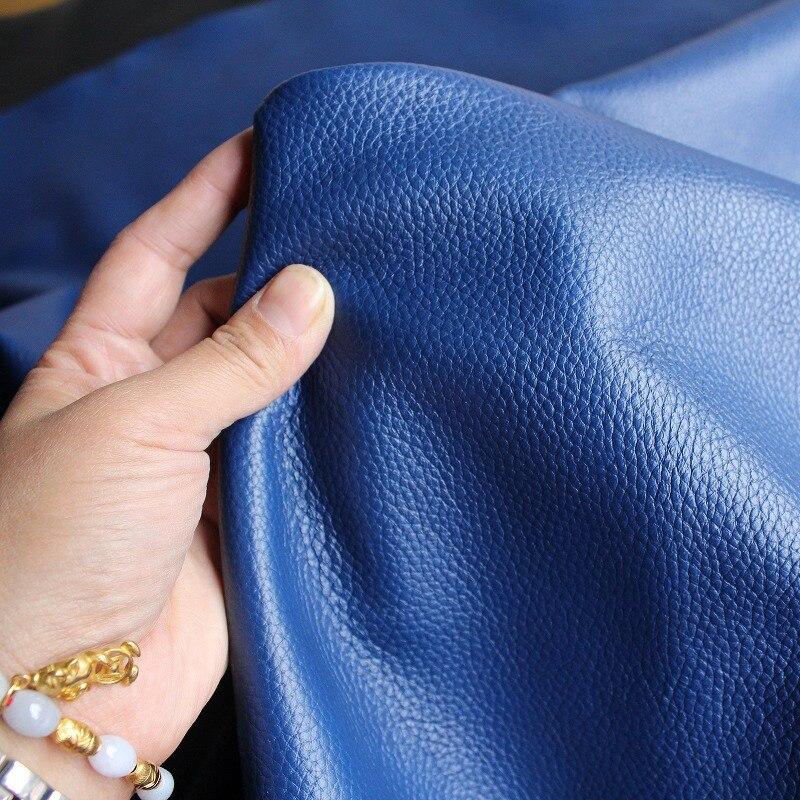 30*30 CM la première couche de cuir gaufré en cuir bleu mince cuir importé souple 1.4mm cuir
