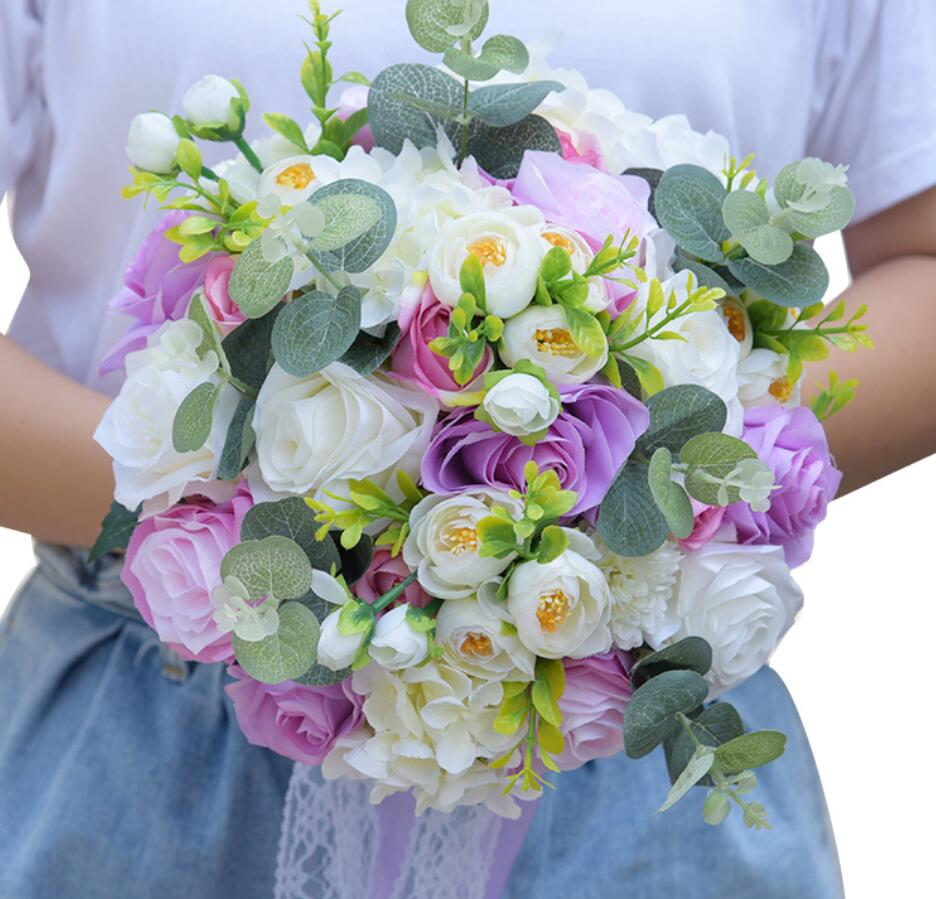 Studio Wedding Photo Simulation Holding Flowers Wedding Bouquets Women Country Style Bridal Party Gifts Artificial Flowers S84