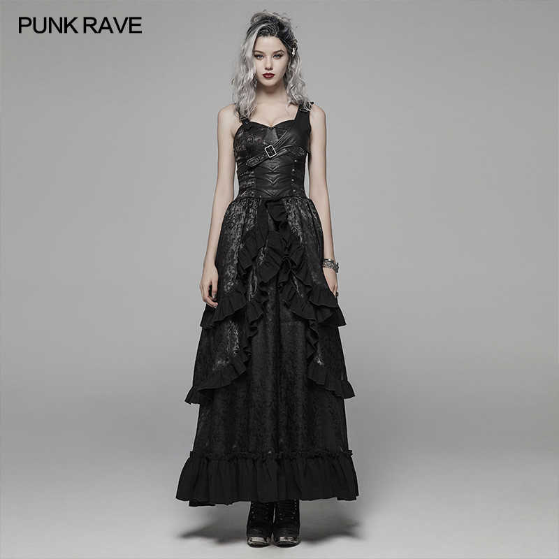 Women Punk Dresses Off Shoulder Adjustable Strap Solid Color Bandage Steampunk Gothic Victorian Dress