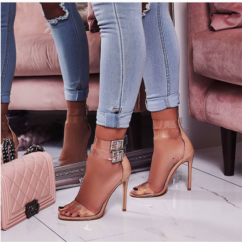 TINGHON New Fashion Crystal Rhinestone Buckle Strap Sandals Summer Sexy PVC  Thin High Heels Open Toe Gladiator Dress Lady Shoes-in High Heels from Shoes  on ... fa393c858dc7