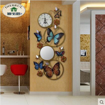 Iron art driedimensionale vlinder frame muur opknoping woonkamer veranda 3D achtergrond wanddecoratie