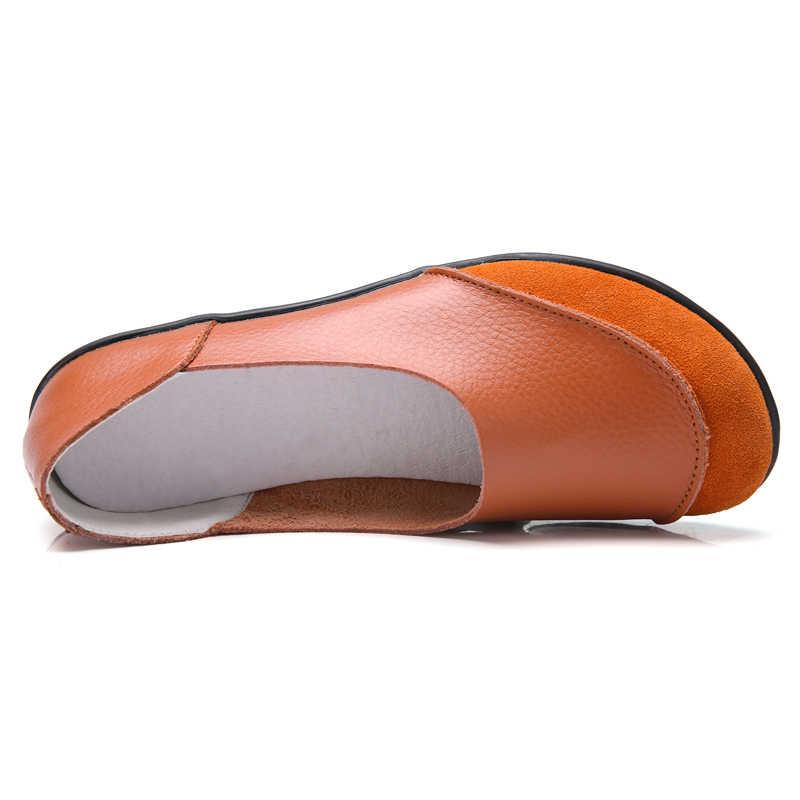 FEVRAL 2019 yeni varış ayakkabı kadın bölünmüş deri kadın daireler kayma kadın loafer'lar kadın mokasen ayakkabı artı boyutu 35-44