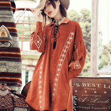 The original 2016 maze autumn Folk Style Lantern Sleeve embroidered jacket suede long T shirt girl