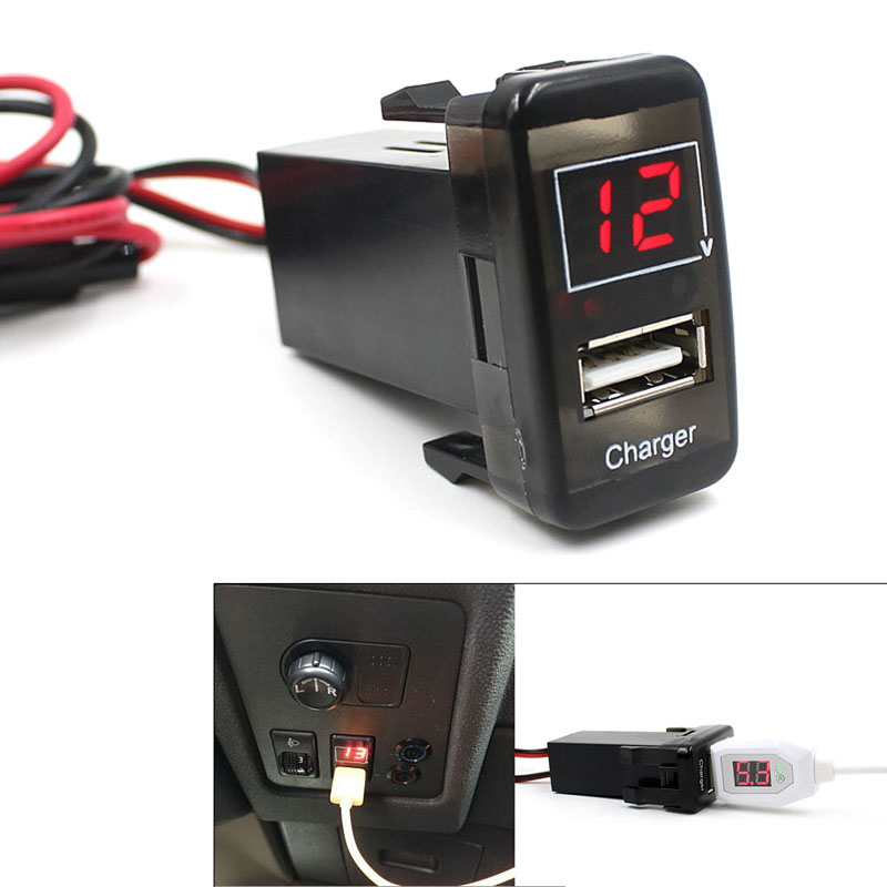 Hot Sale Car USB Port Dashboard Voltmeter Charger Adapter 5V 2.1A for TOYOTA ME3L