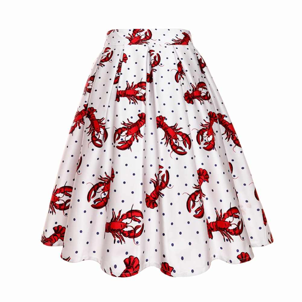 Lobster Print Midi Skirts Causal Vintage High Waist Pleated Solid Skirt  2018 Summer A Line Umbrella 29fdbba4f4af