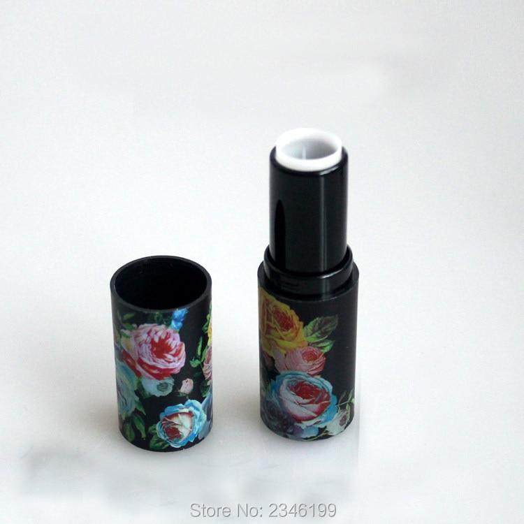 50pcs/lot Black Retro Flower Printed Lipstick Tube, Round Empty Lip - Skin Care Tool