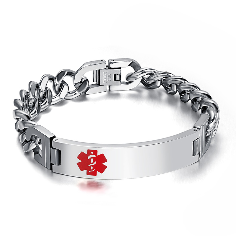 2018 Real Sale Hot Fashion Medical Bracelet For Men Jewelry High Quality Stainless Steel Bracelets & Bangles 10mm&12mm Wide Good Reputation Over The World