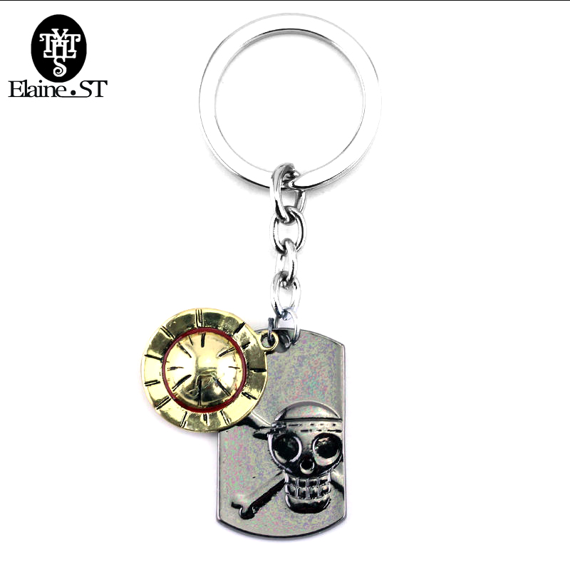 Unque Luffy Straw Hat Pirates Skull Drop Keychain Key Ring One Piece Collection
