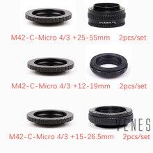 2 개/대 25 55mm/12 19mm/15 26.5mm + 렌즈 어댑터 m42/c 마운트 Lens M4/3 m42 렌즈 용 조절 식 초점 헬리콥터 매크로 어댑터