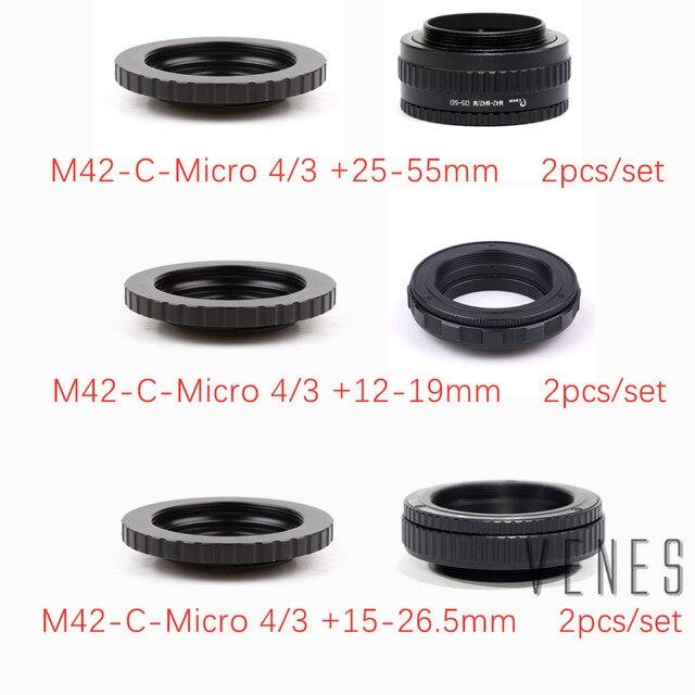 2 pçs/set 25 55mm/12 19mm/M42 15 + 26.5 milímetros Adaptador de Lente /C Montar Lens M4/3 para M42 Lente Ajustável Focando Helicóide Macro Adaptador
