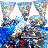 132pcs/bag Flags Tablecloth Straws Cups Plates Fork Superhero Boys Party Supplies Kid Birthday Party Supplies Decoration Favors