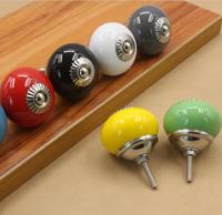 Colorful Ceramic Door Handles Round Cabinet Knobs Cupboard Drawer Wardrobe Pull Knob Furniture Candy Color YH1672