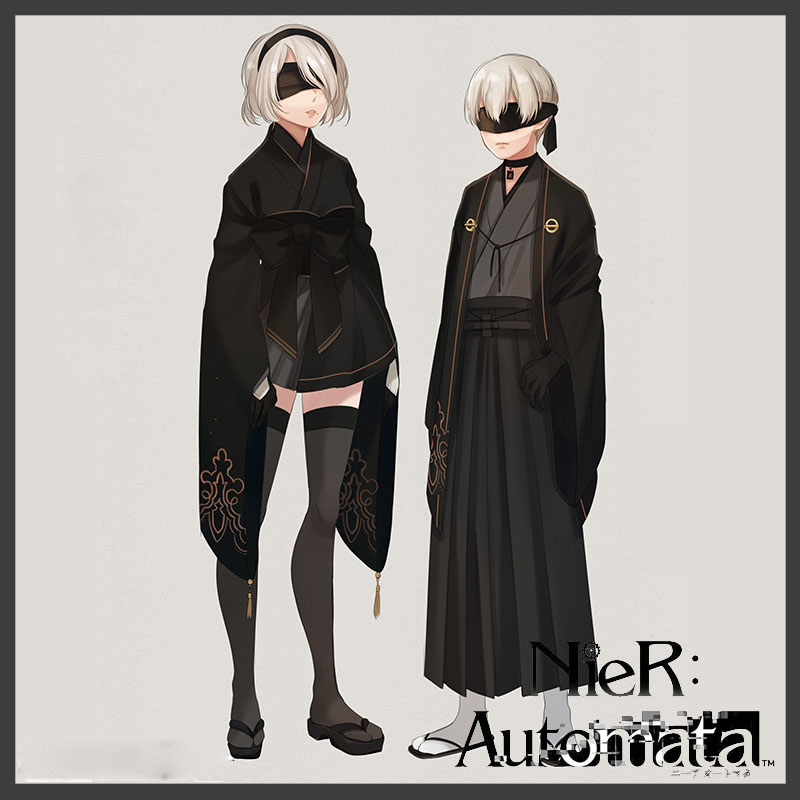 2B 9S NieR Automata YoRHa No.2 Type B Uniforms Kimono Cosplay Costume Girl Boy Women Men Halloween Party Clothes Dropshipping