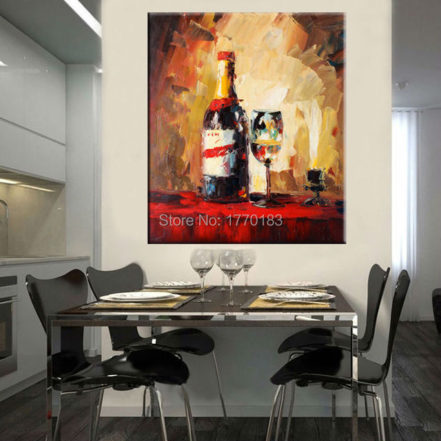 Wine Themed Kitchen Paint Ideas: Hand Painted Wine Bottle And Glass Table Still Life Oil
