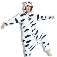 Flannel Adult Unisex Dairy Cow Pajamas Animal Lovely Onesie Sleepsuit Cosplay Sleepwear