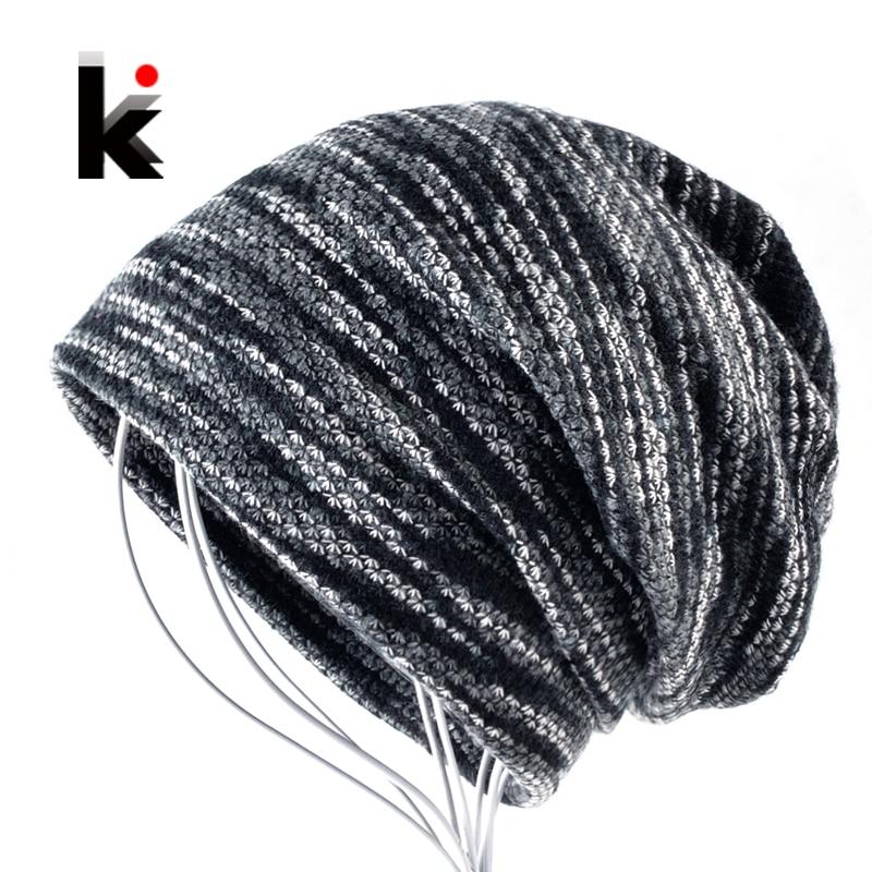 Winter Unisex Knitted Wool   Beanies   Hat women Knit Colorful Striped Hip Hop Bonnet Cap Men Casual Add Velvet Turban   Skullies   Muts