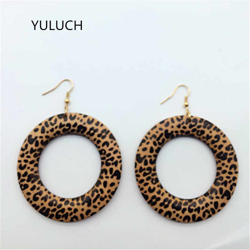 personality New design Big handmade Natural african Leapord  wood earrings jewelry